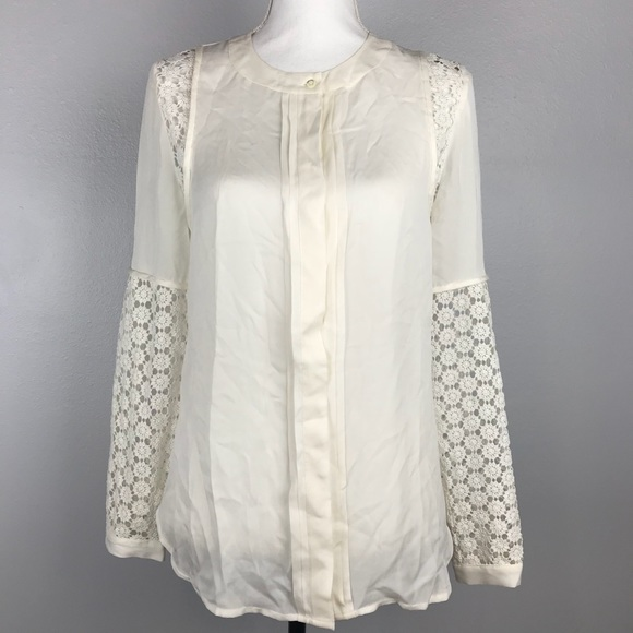 c404046c2dd5b J. Crew 0 Long Sleeve Silk Georgette Lace Blouse